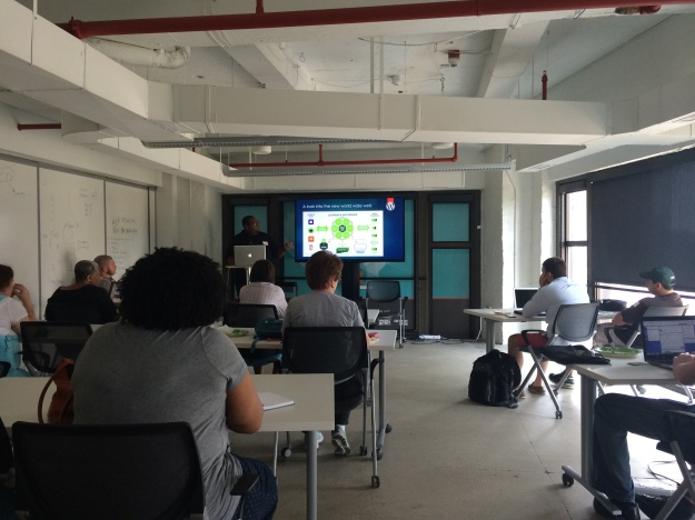 Hasani Rogers speaking at MD WordPress Meetup