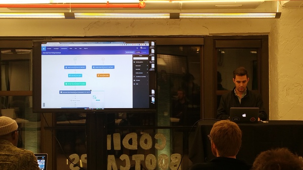 Jordan Skole presenting, monitor showing marketing automation process